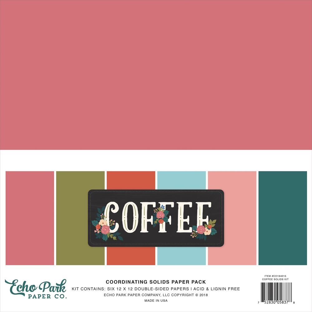 Echo Park COFFEE 12 x 12 Double Sided Solids Paper Pack co164015 zoom image