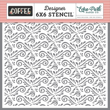 Echo Park COFFEE FLOURISH 6 x 6 Stencil co164034
