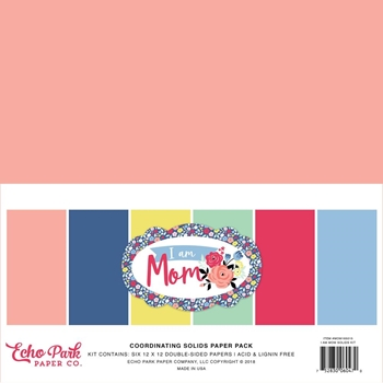 Echo Park I AM MOM 12 x 12 Double Sided Solids Paper Pack mom165015