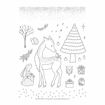 Honey Bee SILENT NIGHT Clear Stamp Set hbst-143