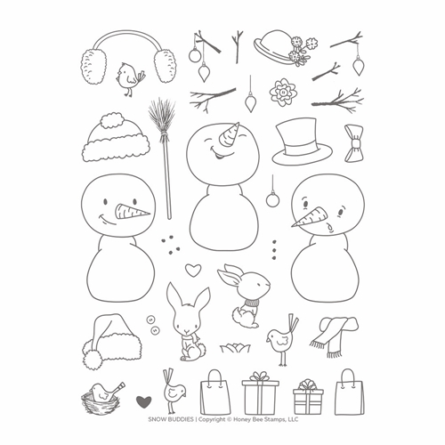 RESERVE Honey Bee SNOW BUDDIES Clear Stamp Set hbst-140 Preview Image