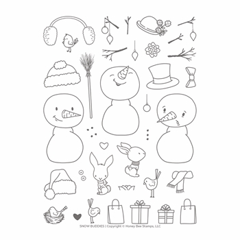 Honey Bee SNOW BUDDIES Clear Stamp Set hbst-140