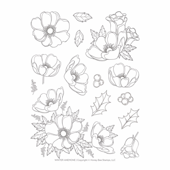 Honey Bee WINTER ANEMONE Clear Stamp Set hbst-139
