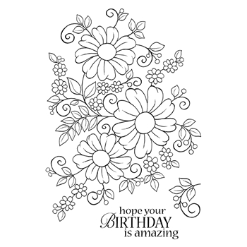 Woodware Craft Collection BOLD BLOOMS CAROLINE Clear Stamps jgs618