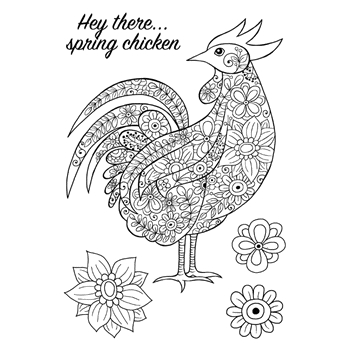 Woodware Craft Collection DECORATIVE COCKEREL Clear Stamps jgs620