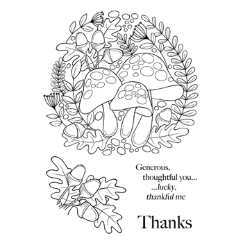 Woodware Craft Collection TOADSTOOL RING Clear Stamps jgs622