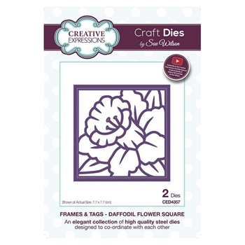Creative Expressions DAFFODIL FLOWER SQUARE Sue Wilson Frames and Tags Collection Die Set ced4357