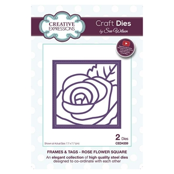 Creative Expressions ROSE FLOWER SQUARE Sue Wilson Frames and Tags Collection Die Set ced4359