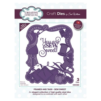 Creative Expressions SEW SWEET Sue Wilson Frames and Tags Collection Die Set ced4363