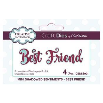 Creative Expressions BEST FRIEND Sue Wilson Mini Shadowed Sentiments Die Set cedss001