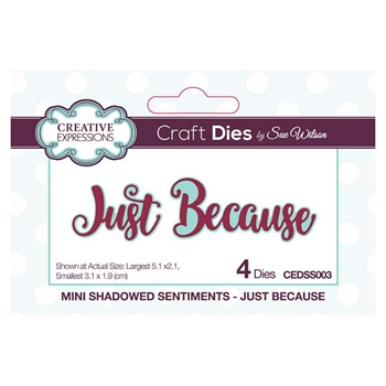 Creative Expressions JUST BECAUSE Sue Wilson Mini Shadowed Sentiments Die Set cedss003