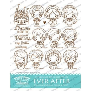 The Greeting Farm EVER AFTER Untrimmed Red Rubber Cling Stamp Set TGF444