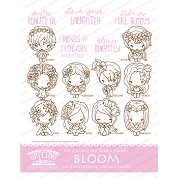 The Greeting Farm BLOOM Untrimmed Red Rubber Cling Stamp Set TGF448