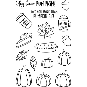 Jane's Doodles PUMPKIN SPICE Clear Stamp Set 743443