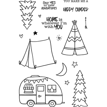 Jane's Doodles HAPPY CAMPER Clear Stamp Set 743412