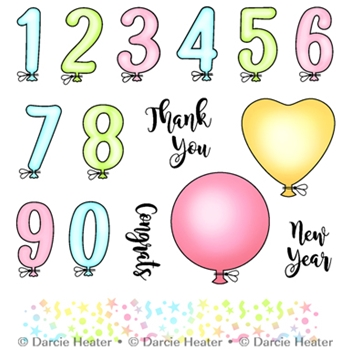 Darcie's BALLOON NUMBERS Clear Stamp Set pol411
