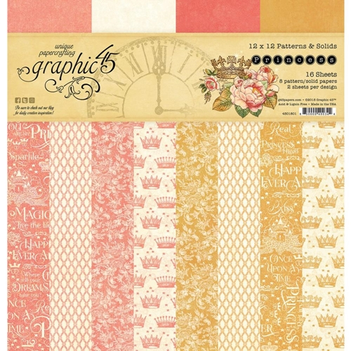 Graphic 45 PRINCESS 12 x 12 Patterns & Solids Paper Pad 4501801 Preview Image