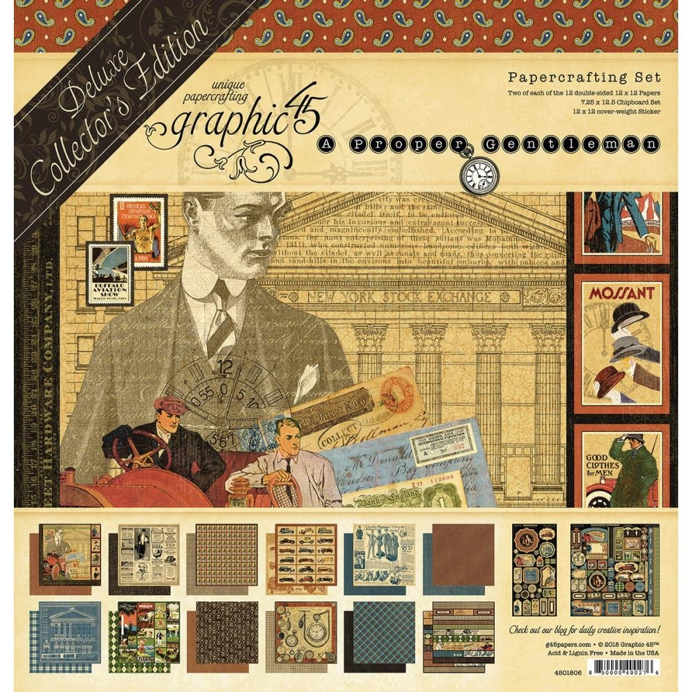 Graphic 45 A PROPER GENTLEMAN 12 x 12 Deluxe Collector's Edition 4501806 zoom image