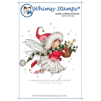 Whimsy Stamps MERRY WISHES FAIRY Rubber Cling Stamp mf126