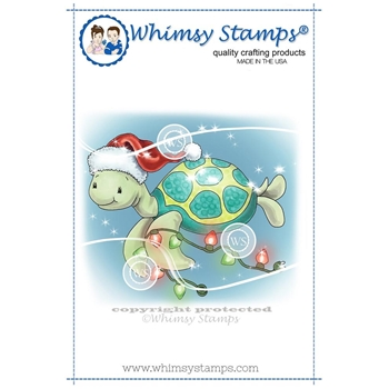 Whimsy Stamps TURTLE CHRISTMAS LIGHTS Rubber Cling Stamp C1330