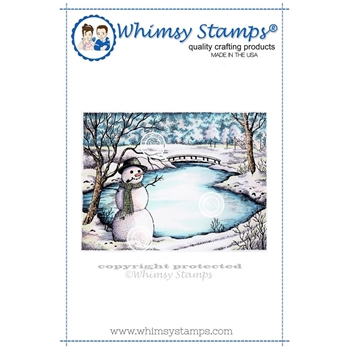 Whimsy Stamps WINTER LAKE Rubber Cling Stamp DA1098