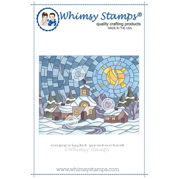 Whimsy Stamps STAINED GLASS VILLAGE Rubber Cling Stamp SGD108