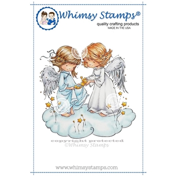 Whimsy Stamps ANGEL WISHES Rubber Cling Stamp MF127