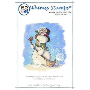 Whimsy Stamps SNOWMAN AND FRIEND Rubber Cling Stamp LH131