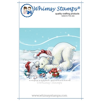Whimsy Stamps POLAR BEAR AND SEAL Rubber Cling Stamp C1329
