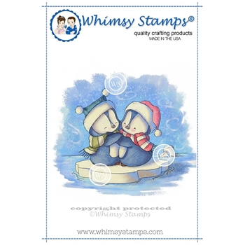 Whimsy Stamps PENGUINS HUGGING Rubber Cling Stamp LH130