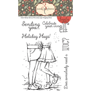 Colorado Craft Company Lovely Legs HUGGING ELVES Clear Stamps LL219