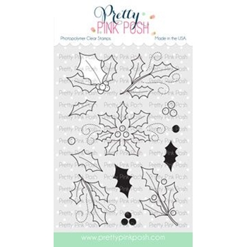 Pretty Pink Posh ELEGANT HOLLY Clear Stamps