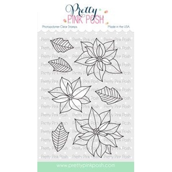Pretty Pink Posh POINSETTIA Clear Stamps