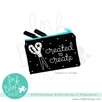 Ink Blot Shop Zipper Pouch CREATED TO CREATE ibzp001