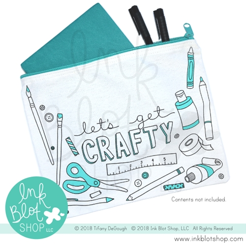 Ink Blot Shop Zipper Pouch LET'S GET CRAFTY ibzp003 Preview Image