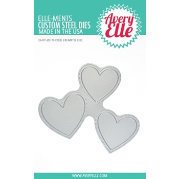 Avery Elle Steel Die THREE HEARTS D-07-20