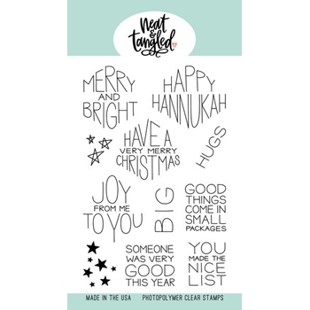 Neat and Tangled GIFT CARD BOX CHRISTMAS SENTIMENTS Clear Stamps NAT434