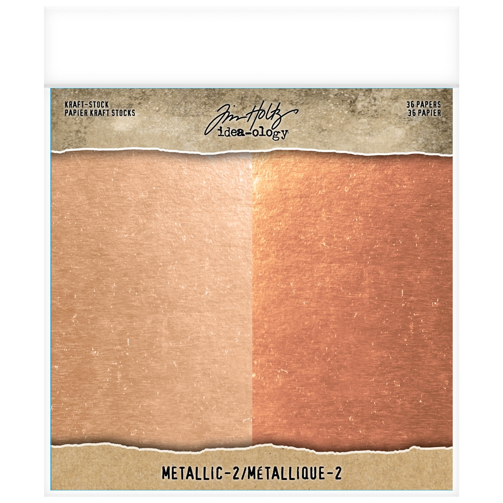 Tim Holtz Idea-ology 8 x 8 Paper Stash METALLIC 2 KRAFT STOCK Paperie th93780 zoom image