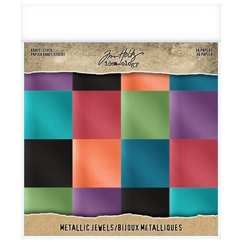 Tim Holtz Idea-ology 8 x 8 Paper Stash METALLIC JEWELS KRAFT STOCK Paperie th93781