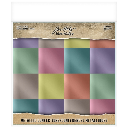 Tim Holtz Idea-ology 8 x 8 Paper Stash METALLIC CONFECTIONS KRAFT STOCK th93784 Preview Image