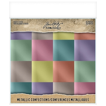 Tim Holtz Idea-ology 8 x 8 Paper Stash METALLIC CONFECTIONS KRAFT STOCK Paperie th93784