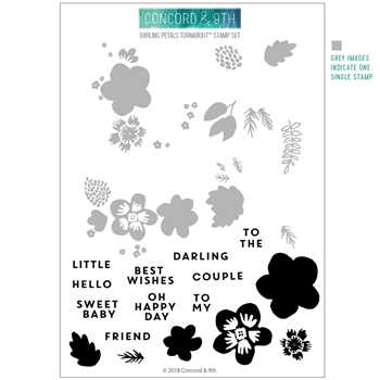 Concord & 9th DARLING PETALS TURNABOUT Clear Stamp Set 10500