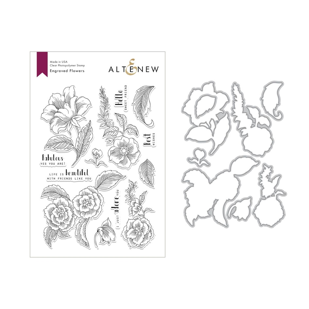 Altenew ENGRAVED FLOWERS Stamp and Die Set ALT2812 zoom image