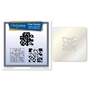 Claritystamp OAK TREE THREE WAY OVERLAY Clear Stamps and Stencil clatr20066a5