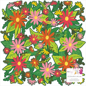 American Crafts Dear Lizzy FLOWERS Die Cut 12x12 Inch Cardstock A New Day 349529