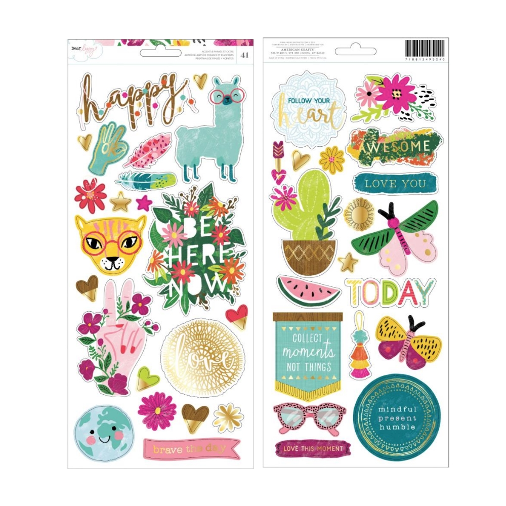 American Crafts Dear Lizzy CARDSTOCK STICKERS A New Day 349524  zoom image