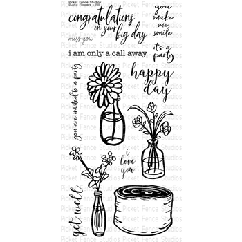 Picket Fence Studios RUSTIC FLORAL Clear Stamp Set f111