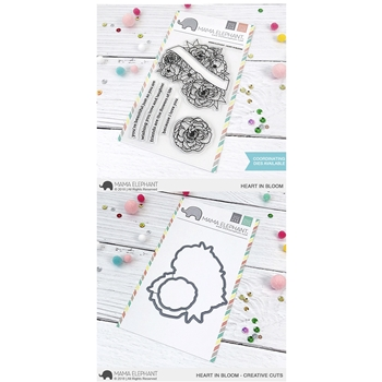 Mama Elephant Clear Stamp and Die MEPT562 Heart In Bloom SET