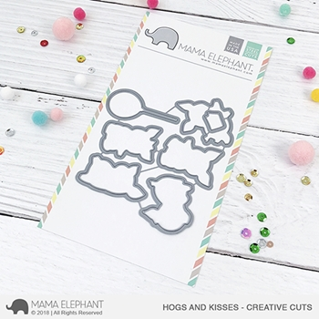 Mama Elephant HOGS AND KISSES Creative Cuts Steel Dies