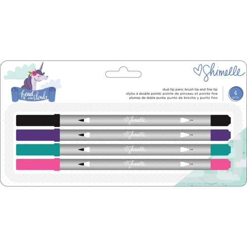 American Crafts Shimelle BRUSH AND FINE TIP DUAL-TIP Pen Set Head in the Clouds 349474 Preview Image
